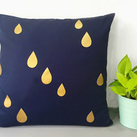 Custom Your Color. Gold Raindrops Decorative Navy Pillow Cover Cushion Cover. Gold Rain Teardrops Accents Pillow