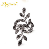 Ajojewel Brand Hot Selling Zinc Alloy Female Jewelry White Gold Plated Black CZ Vintage Leaf Ring For Women Size 6,7,8,9