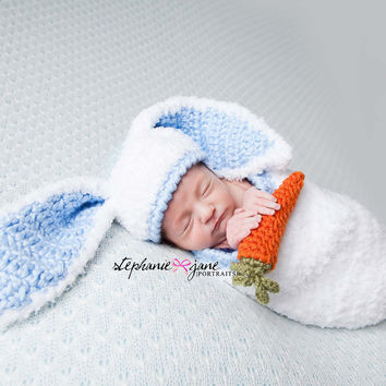 Newborn Baby Bunny Hat and Cocoon / Blue and White