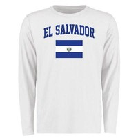 Licensed Sports El Salvador Flag Long Sleeve T-Shirt - White KO_20_2