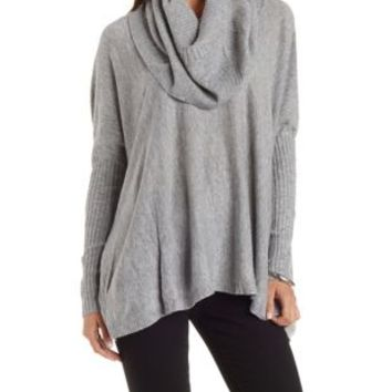 Heather Gray Cowl Neck Pullover Top by Charlotte Russe