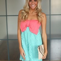 Young and Wild Bow Lace Dress Pink/Blue