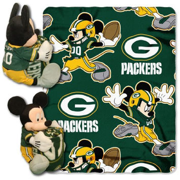 NFL Green Bay Packers Mickey Mouse Pillow with Fleece Throw Blanket Set