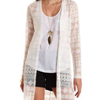 Ivory Long Sleeve Lace Duster Cardigan by Charlotte Russe