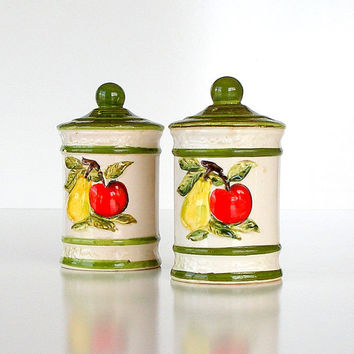 Salt and Pepper Shakers Set Vintage Pottery 50s Kitchen Red Apples Yellow Pears