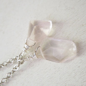 Rose Quartz Necklace - Delicate Pink Rose Quartz Briolette Pendant Necklace Silver Chain stone no.3