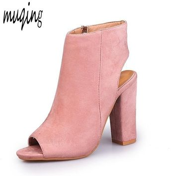 Muqing Women Suede Ankle Boots Square Heel Peep Toe Open Toe High Heels Stylish Sandals Slingback Zip-up 7N0039