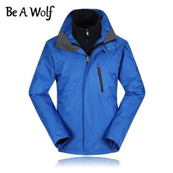 Be A Wolf Winter Hiking Jackets Men Polyester Outdoor Fishing Clothing Camping Skiing Rain Waterproof Windbreaker Jacket 816
