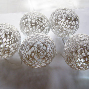 Party Lighting, Holiday Lights, Lighting Chain Bedroom Decor, Fairy Lights, String Lights, 20 Lace Crocheted white balls , garland light