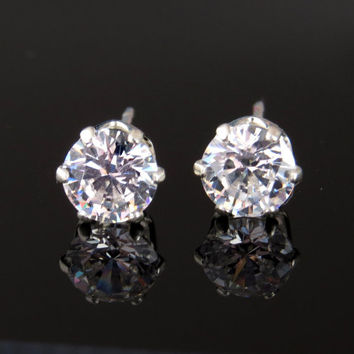 5mm, 1 Carat Total, Flawless D Color, Man Made Diamond Simulant, Sterling Silver, Round Stud Earrings, Birthstone, Bridal, 14k Gold Option