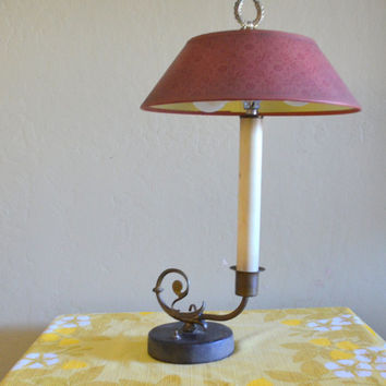 Vintage Candlestick Table Lamp with Laurel Wreath Finial, Leather Covered Base and Red Floral Shade, Works