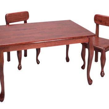 Gift Mark Home Kids Natural Hardwood Queen Anne Rectangle Table And Chair Set Cherry