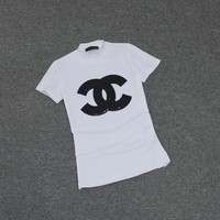 """Chanel"" Women Casual Fashion Logo Letter Sequins Embroidery Short Sleeve Turtleneck T-shirt Tops Tee"