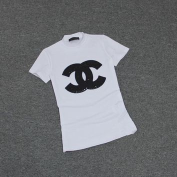 """""""Chanel"""" Women Casual Fashion Logo Letter Sequins Embroidery Short Sleeve Turtleneck T-shirt Tops Tee"""