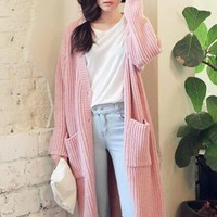 Pink  Plain Pockets Long Sleeve Cardigan
