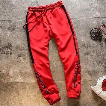 "Hot Sale ""Adidas"" Trending Women Men Stylish Print Drawstring Sport Pants Trousers Sweatpants Red"