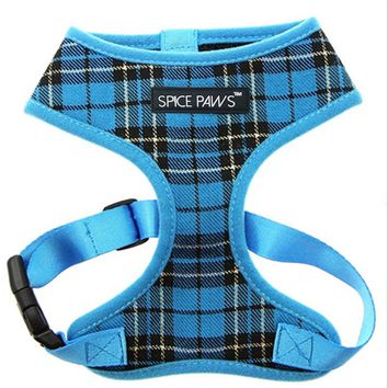 Glorious Kek Dog Harness Vest Plaid Small Pet Dog Harness Adjustable Mesh Lining Nylon Puppy Chest Strap for Chihuahua Pug XS-XL