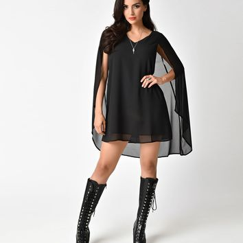 Vintage Style Black Chiffon Short Cape Dress