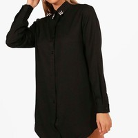 Freya Embellished Collar Shirt Dress | Boohoo