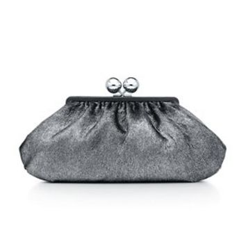 Tiffany & Co. -  Vivian clutch in metallic antique silver haircalf with leather trim, large.