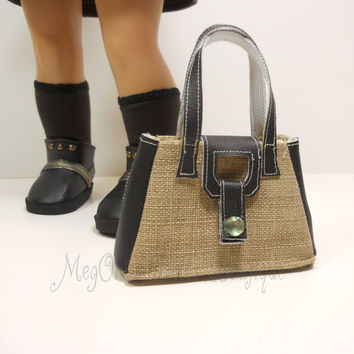 "American Girl Dolls Purse, Designer Handbag Beige Black - ""LiLa"" by MegOri's Dolls Boutique"