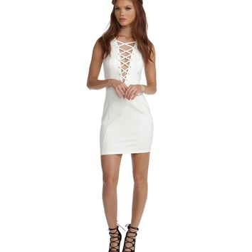 White All Tied Up Bodycon