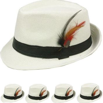 White Fedora Hat with Feather - CASE OF 72