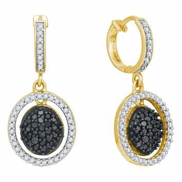 10kt Yellow Gold Women's Round Black Color Enhanced Diamond Oval Frame Dangle Earrings 3-4 Cttw - FREE Shipping (USA/CAN)