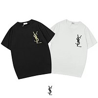 YSL New fashion bust embroidery letter couple top t-shirt