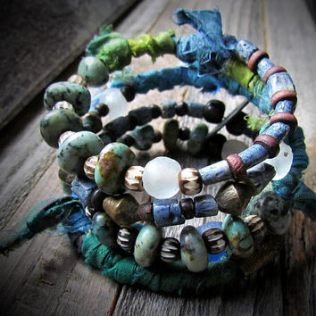 TURQUOISE WAVES~Artisan Five Coil Gypsy Wrap~Sari Silk~African Turquoise~African Batik Carved Bone~Krobo Glass Beads~Earthy~Rustic~