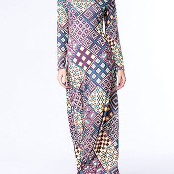Streetstyle  Casual Band Collar Plaid Attractive Plus Size Maxi Dress