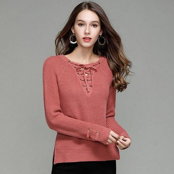 Knit Pullover Sweater V-neck Bottoming Shirt [188222537754]