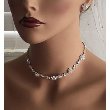 Silver Flower Crystal Bridal Backdrop Choker Earrings Jewelry Set