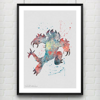 Fredzilla Disney Watercolor Poster, Big Hero 6 Watercolor Print, Boys Room Wall Art, Home Decor, Not Framed, Buy 2 Get 1 Free! [No. 49]