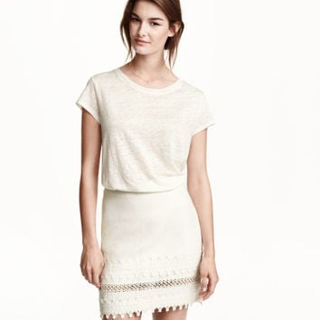 Short Lace-trimmed Skirt - from H&M