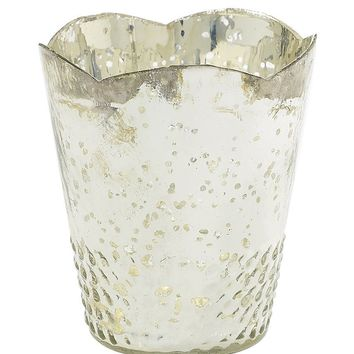 """Mercury Glass Floral Container in Silver - 5.25"""" Tall x 4.5"""" Diameter"""