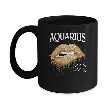 Aquarius Zodiac January February Birthday Gift Golden Lipstick Mug