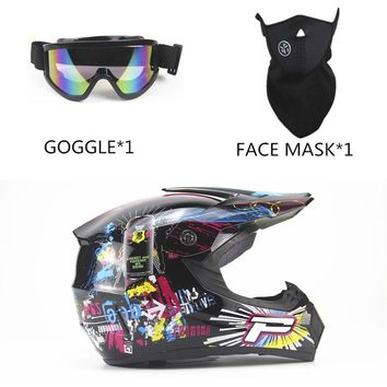 OUTAD 3PCS/SET Breathable Motorcycle Helmet Lightweight Full Face Racing Bicycle Safety Unisex ABS Shell Cycling bike Helmet