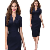 Womens Deep V Neck 1/2 Sleeve Sheath Elegant Tunic Business Party Bodycon Pencil Dress = 1956604036
