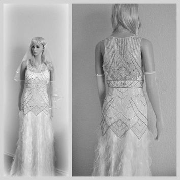 Lavish Wedding Gown Romantic Bohemian Bridal Dress Beaded Evening Gown Feathers Crystals Pearls Unique Flapper Dress Restored