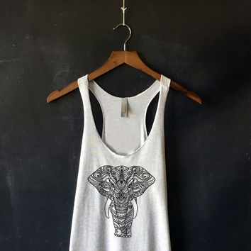 Henna Elephant Tank Top in Heather White