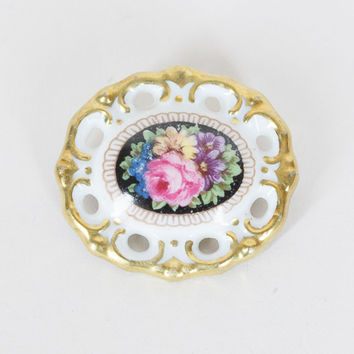 Vintage 30s Brooch / 1930s Antique Schumann German Porcelain Ceramic Floral Pin
