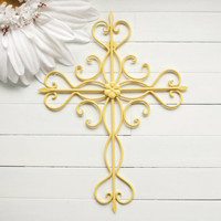 Gift Idea / Wall Decor / Ornate Metal Cross Wall Art / Home Decor / Cross Decor / Cross Wall Decor / Cross Wall Hanging / Yellow Decor