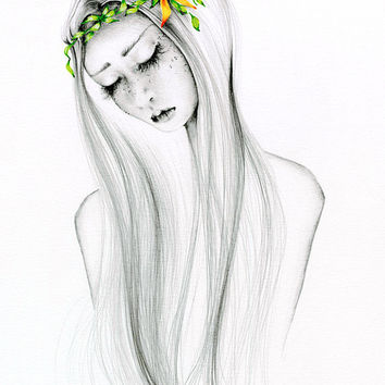 Pencil Drawing OOAK Watercolor Painting &  Pencil Drawing Fantasy Fine Art for Her Wall Art Home Decor Beautiful Girl Figure Drawing ohtteam