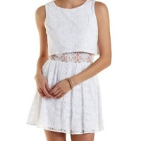 Ivory Layered Lace Skater Dress by Charlotte Russe