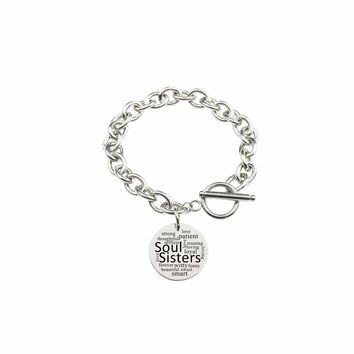 Solid Stainless Steel Toggle Bracelet - Soul SIsters
