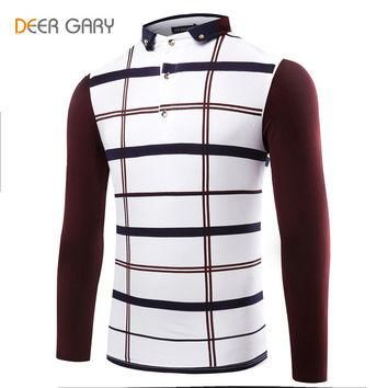 Plaid Men's Polo Shirts Popular Spell Color Design Turn-down Collar Fashion Shirts Me
