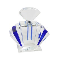 Appealing  Crystal Perfume Bottle, Blue And Clear -Sagebrook Home