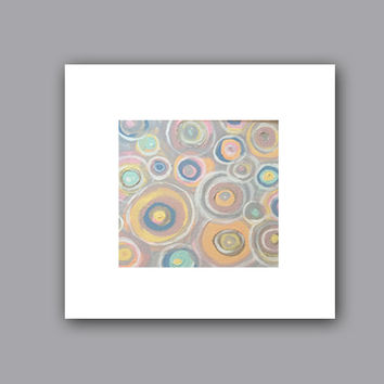 "Abstract Acrylic Painting Original Fine Art 7.5"" x 7.5"" by Linnea Heide - colorful fun whimsical - concentric circles"