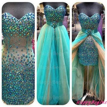 Long Prom Dress, Teal Beaded Backless Prom Dress/ Evening gown With Rhinestone